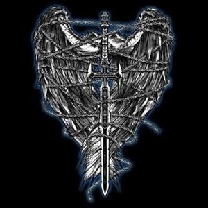 Barbed Sword Wings Tattoo Graphic
