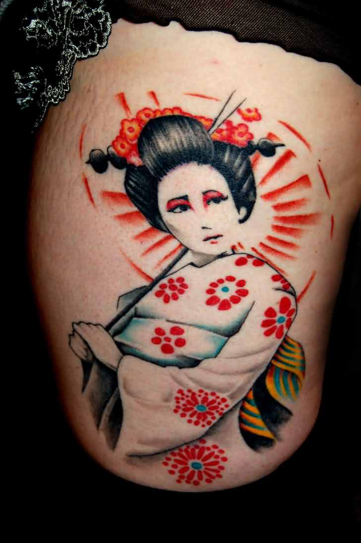 Beautiful Geisha With Sword Tattoo