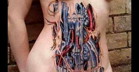 Biomechanical 3D Tattoos On Stomach