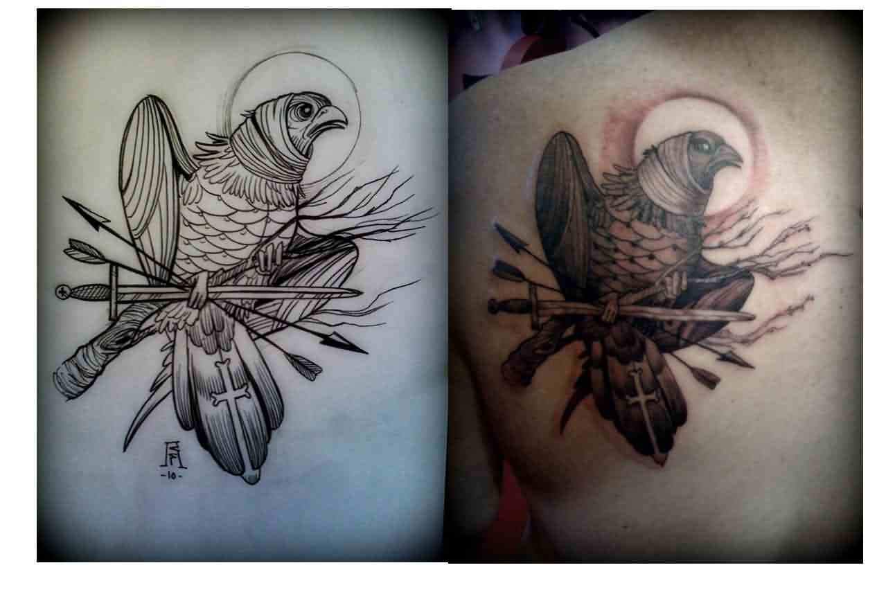 Bird On Sword Tattoos