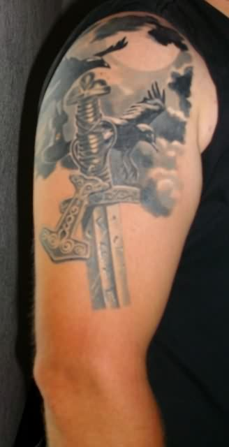 Birds Thor Hammer And Sword Tattoos On Upper Arm