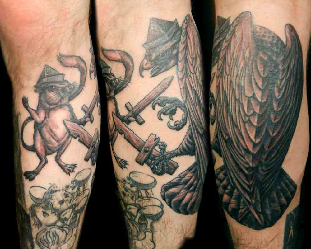 Black And Gray Rat And Hawk Sword Fight Tattoos