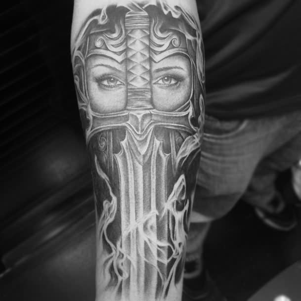Black And Grey Realistic Warrior Lady Medieval Sword Armour Smoke Tattoo