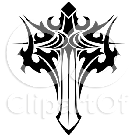 Black And White Tribal Winged Sword Tattoo Stencil