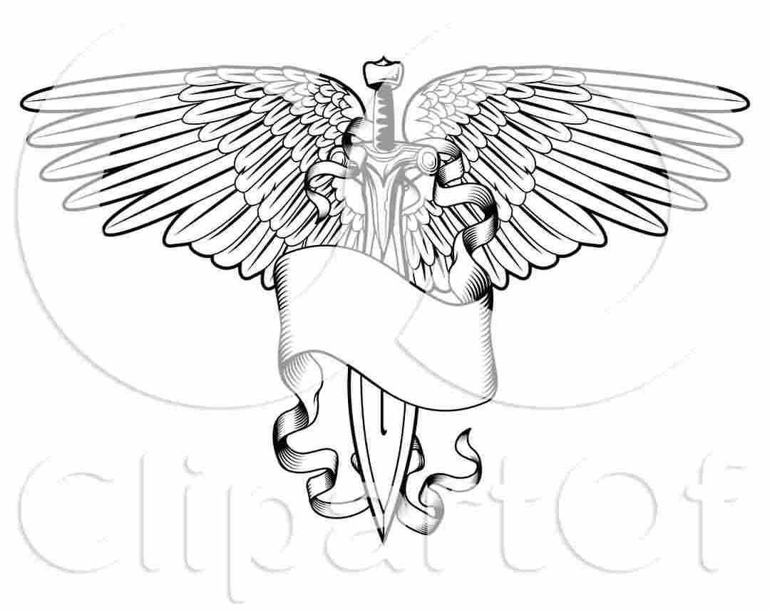 Black And White Winged Sword And Banner Tattoo Design