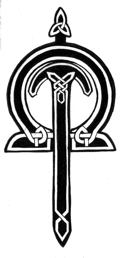 Black Celtic Sword Tattoo Print