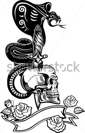 Black Cobra And Sword Skull Tattoo Designs
