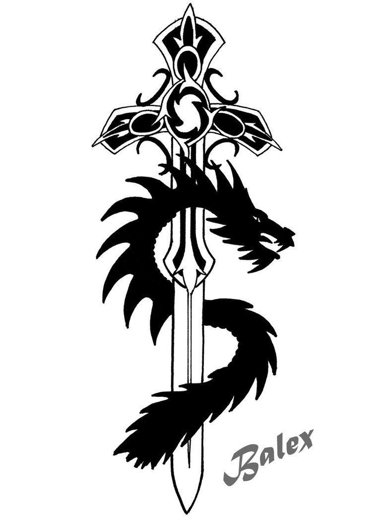 Black Dragon And Tribal Sword Tattoo Designs