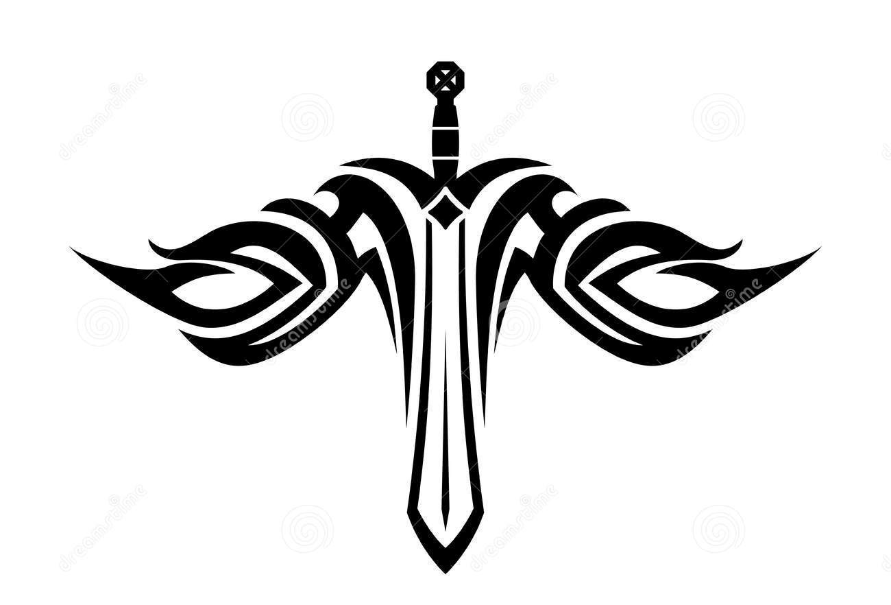 Black White Sharp Tribal Style Sword With Wings Tattoo Design