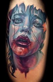 Blue 3D Bleeding Girl Face Tattoo