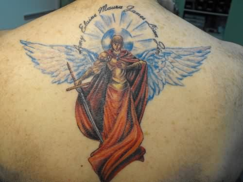 Blue Winged Angel With A Long Sword Tattoo On Back