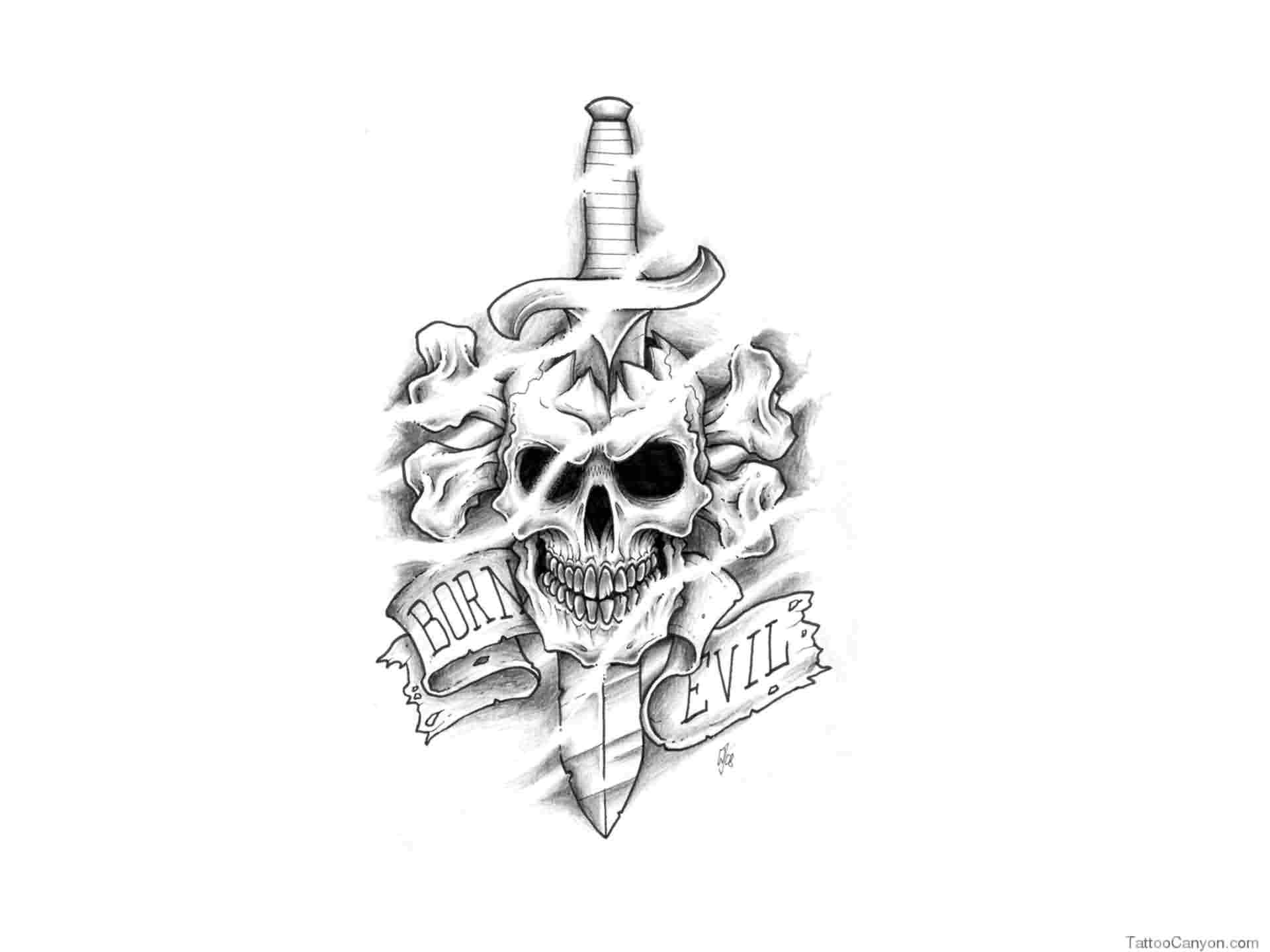 Born Evil Sword Skull Tattoo Design