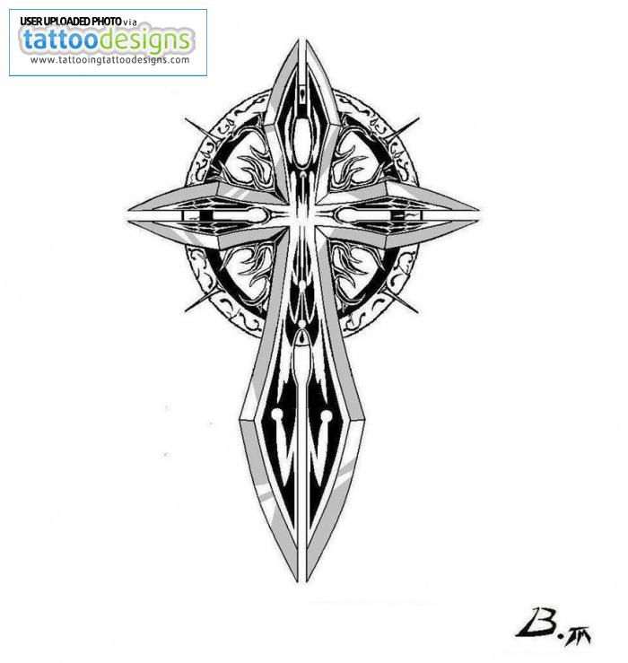 Celtic Cross Sword Tattoo Model