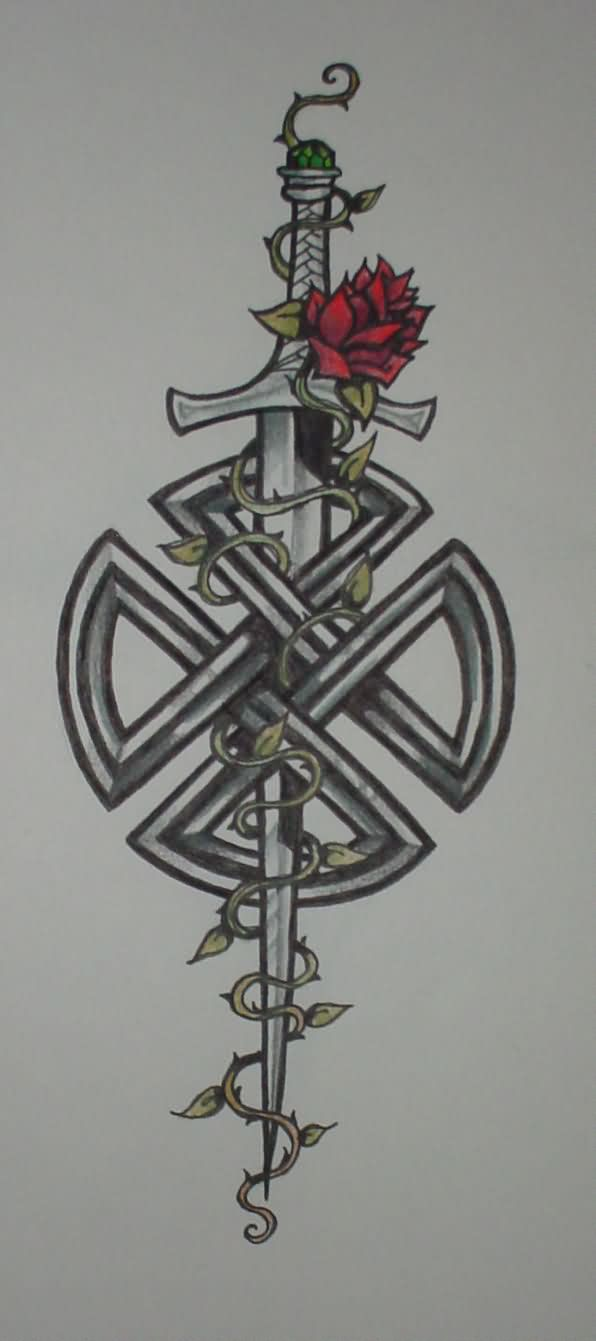 Celtic Knot With Sword Tattoo Design