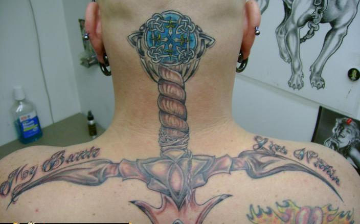 Celtic Sword Tattoo On Head To Back