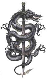 Chinese Dragon Around Sword Tattoo Model