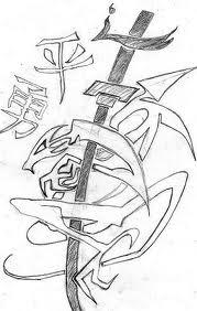 Chinese Sword And Symbol Tattoo Designs