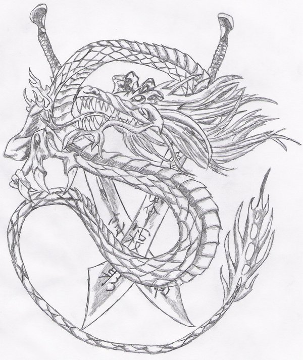 Chinese Swords And Dragon Tattoos Sketch