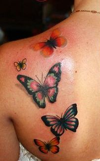 Color 3D Butterflies Tattoos On Back Shoulder