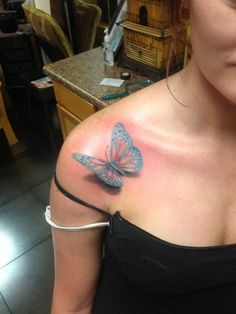 Color 3D Butterfly Tattoo On Right Front Shoulder