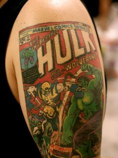 Color 3D Comic Tattoos On Half Sleeve