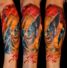 Color 3D Screaming Superhero Tattoo On Sleeve
