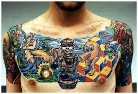 Color 3D Video Game Tattoos On Full Chest
