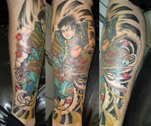 Color Samurai With Sword Leg Tattoos