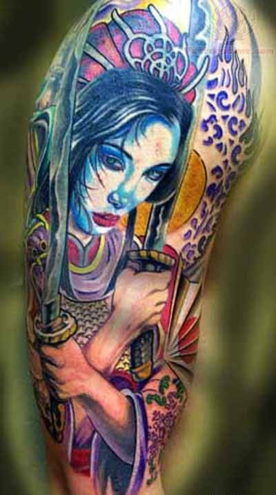 Color Samurai With Sword Tattoos On Sleeve