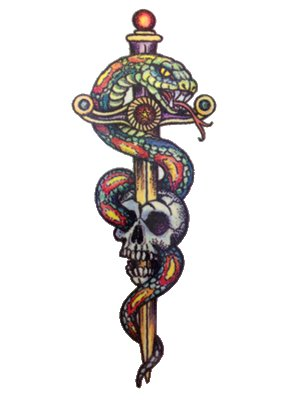 Colorful Snake Sword Skull Tattoo Design