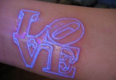 Cool Blacklight 3D Love Word Tattoo