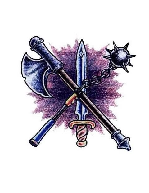 Crossed Axe Mace And Sword Tattoo Designs