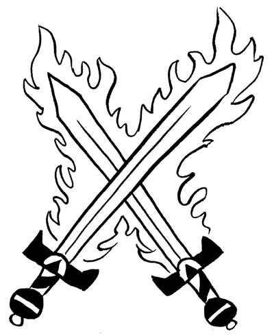 Crossed Flaming Sword Tattoo Designs