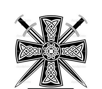 Crossed Swords And Celtic Cross Tattoo Design