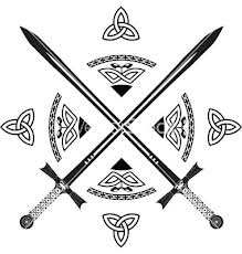 Crossed Swords And Celtic Knot Tattoos