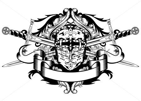 Crossed Swords And Helmet Tattoo Design
