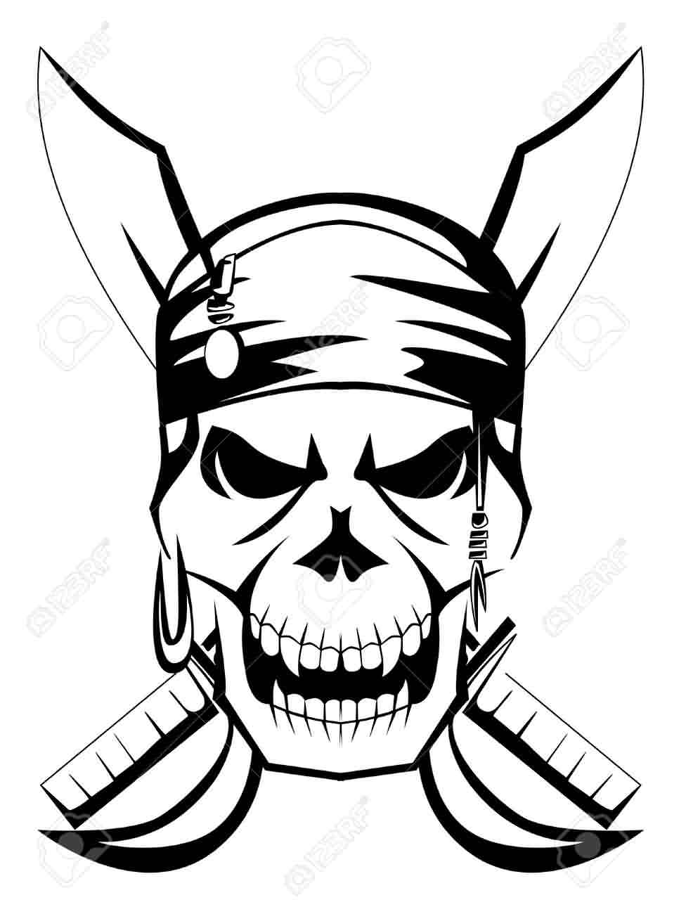Crossed Swords Behind Pirate Skull Tattoo Designs