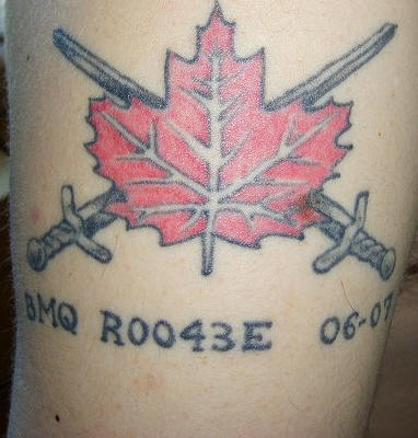 Crossed Swords Behind Red Leaf Tattoo
