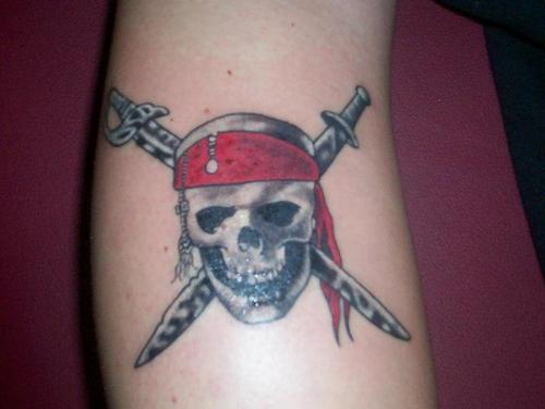 Crossed Swords Behind Skull Tattoo