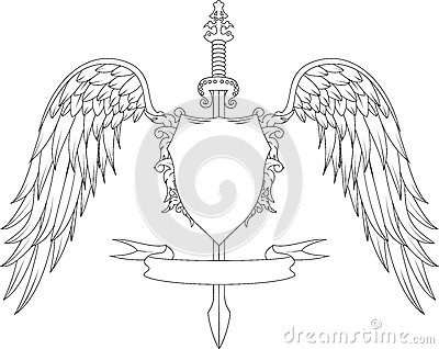 Crown Swords Wings Badge Tattoo Sample