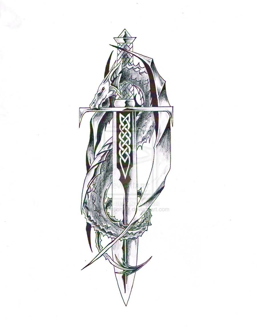 Dragon And Celtic Sword Tattoo Design