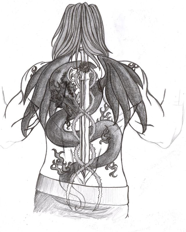 Dragon And Sword Back Piece Tattoo Sketch