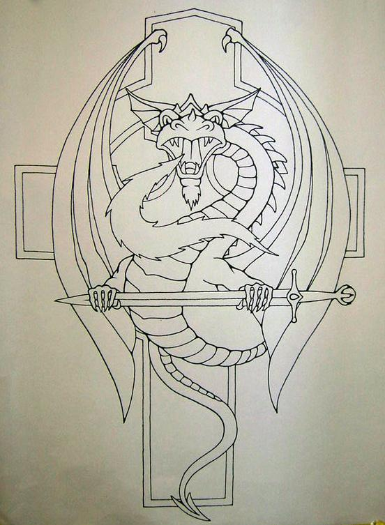 Dragon Sword Cross Tattoo Design