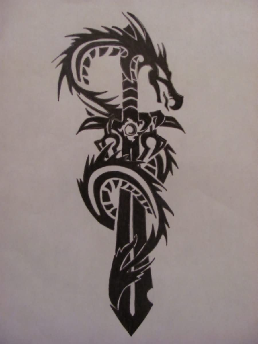 Dragon Sword Tribal Tattoo Design