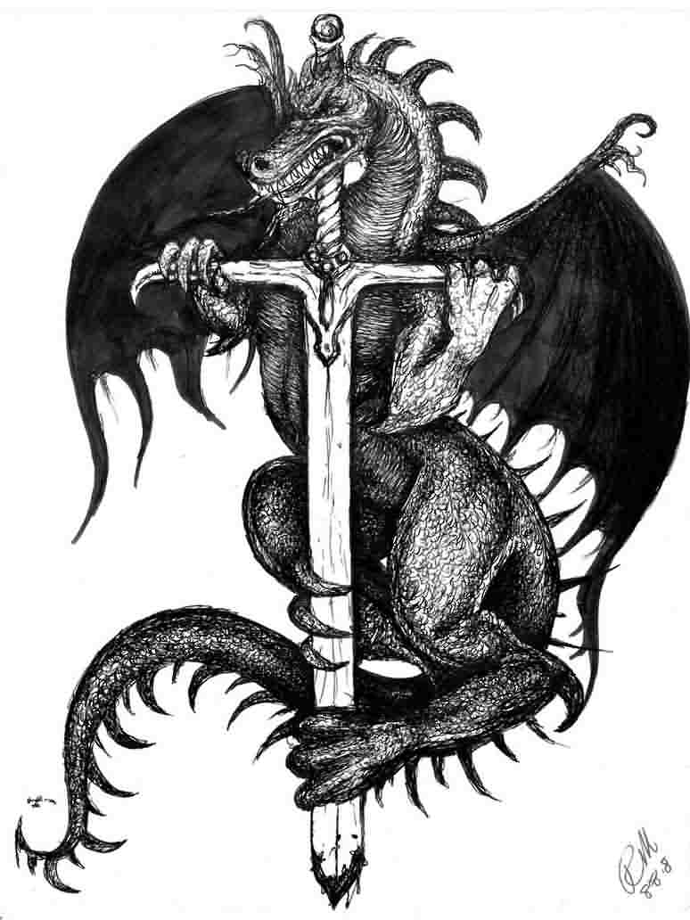 Dragon With Sword Tattoo Design