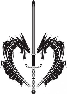 Dragons And Long Sword Tattoos Designs