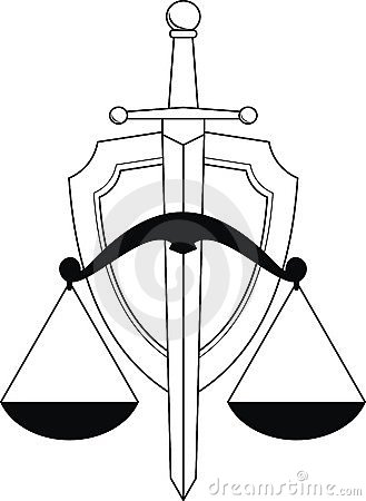 Emblem Of Justice Shield Sword And Scales Tattoo Design
