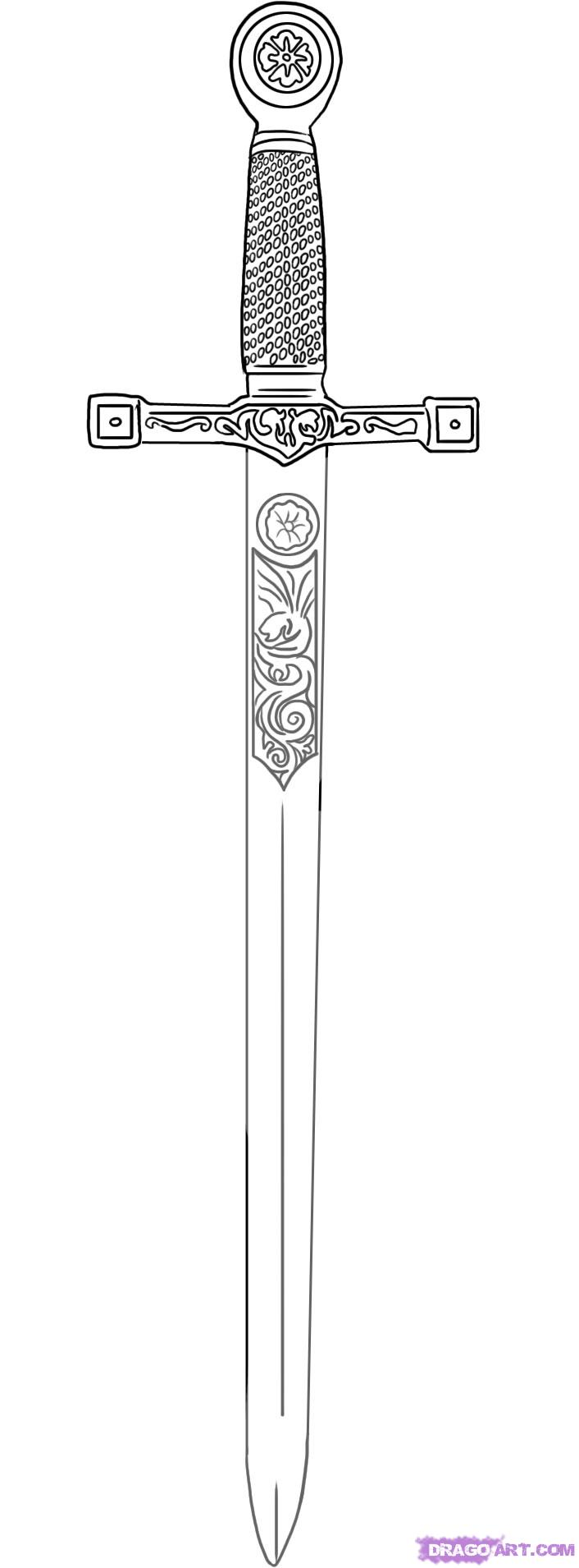 Excalibur Sword In The Stone Tattoo Stencil