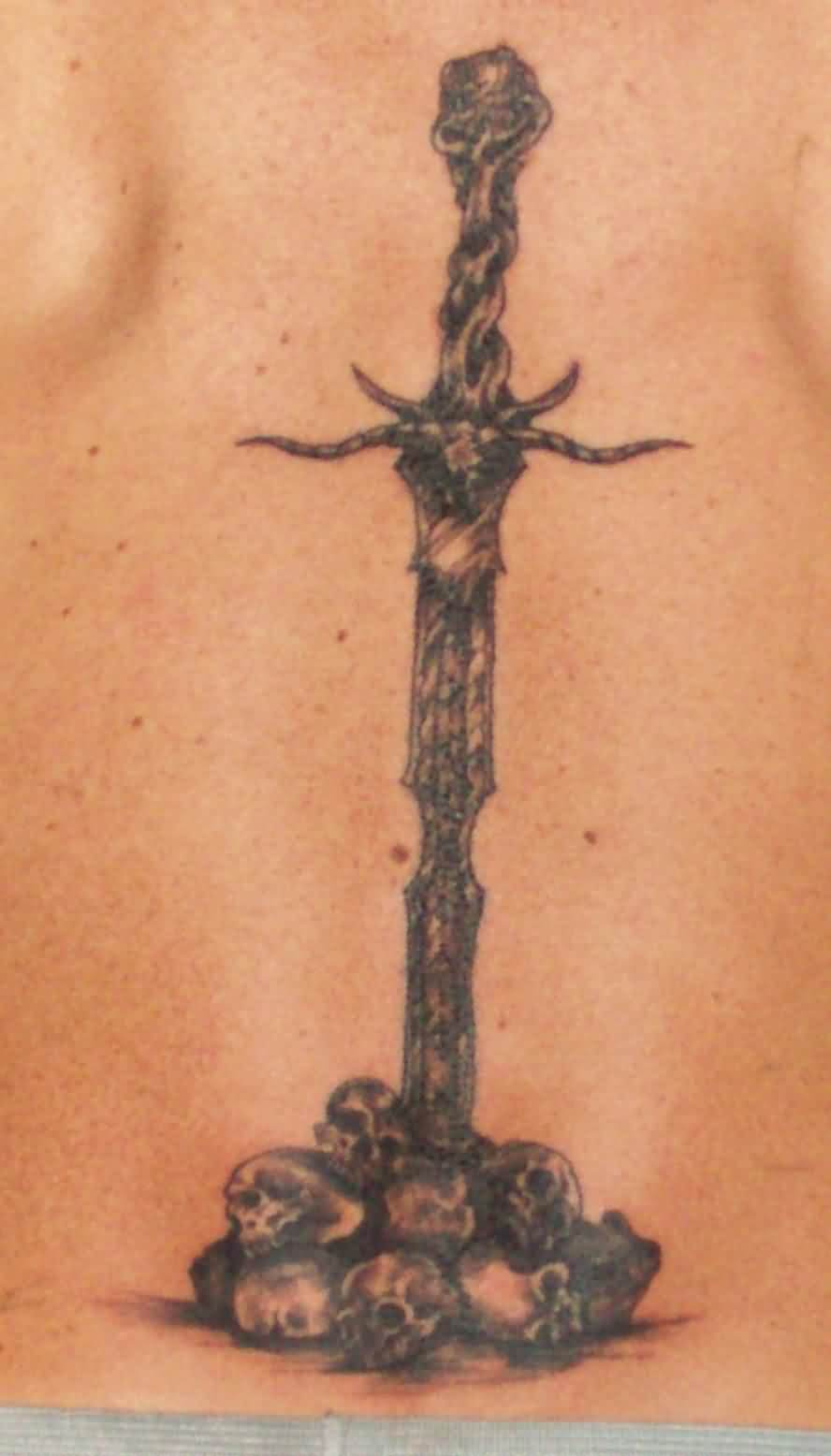 Fantasy Sword And Skull Tattoos On Back