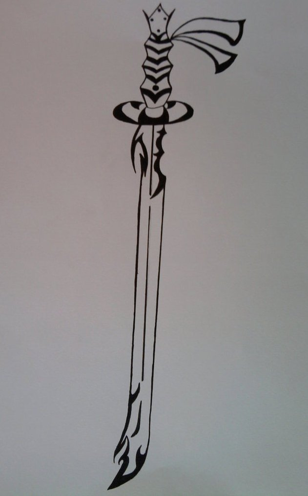 Fantasy Tibal Sword Tattoo Print